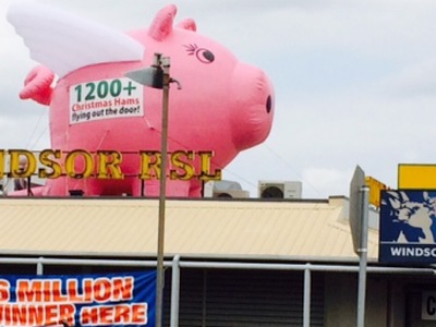 RSL Rooftop Inflatable Pig with Wings christmas Promotion